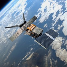 Vue d'artiste du satellite ERS-1 en orbite (credit ESA)