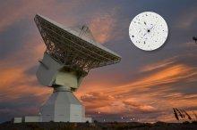 La station de tracking dans l'espace profond de l'ESA en Argentina et dans l'encadré, le Quasar P1514-24 (Credits : Estrack image: ESA/D. Pazos – Quasar P1514-24 inset image: Rami Rekola, Univerity of Turku, 2001)
