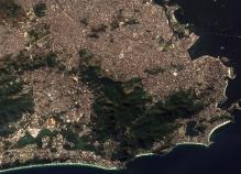 Rio de Janeiro, Brésil, le 13 juillet 2016 par le satellite Snetinel 2 (credit Copernicus/ESA).